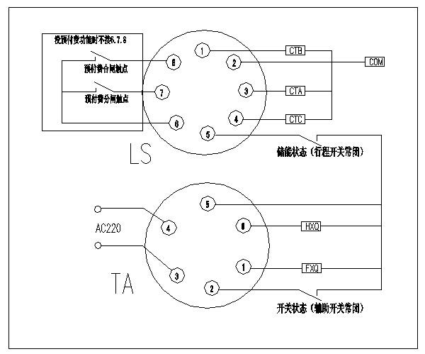 接线图(2)   ta为6芯航空插头;   ls为8芯航空插头.      1.1.